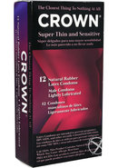 Crown Condom Super Thin Sensitive Lubricated 12 Pack