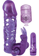 Clit Tickler Penis Extender Vibrating Sleeve Purple 4.75...