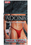 Adonis Mens Collection Mesh Thong Red