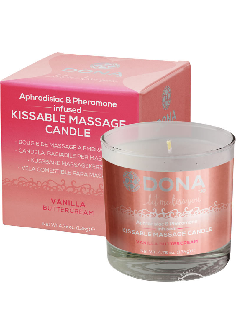 Dona Aphrodisiac And Pheromone Infused Kissable Massage Candle Vanilla Buttercream 4.75 Ounce