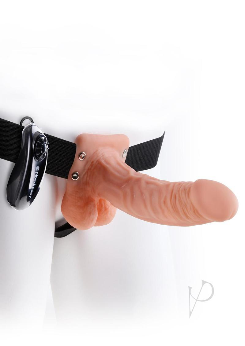 Fetish Fantasy Series Vibrating Hollow Strap On With Balls Wired Remote Flesh 7 Inch
