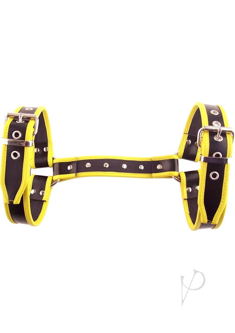 Rouge Halter Harness Leather Adjustable Extra Large Black And Yellow