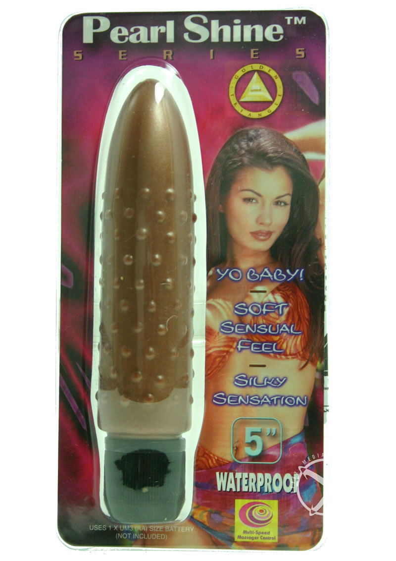 Pearl Shine Bumpy 5 Inch Vibrator Brown Waterproof