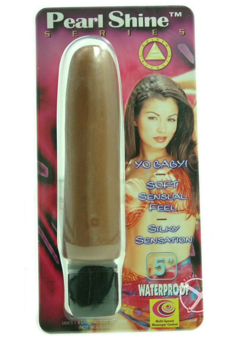 Pearl Shine Smooth 5 Inch Vibrator Brown Waterproof